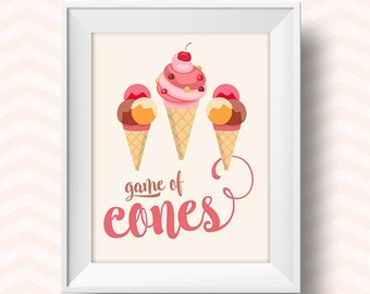 printable artwork, Ice cream cone, ice lolly art, funny kitchen decor, art, kitchen art, peach decor, home decor print, digital download