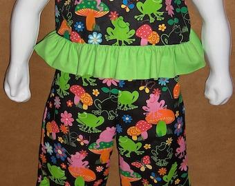 Ruffled crop top and matching pants