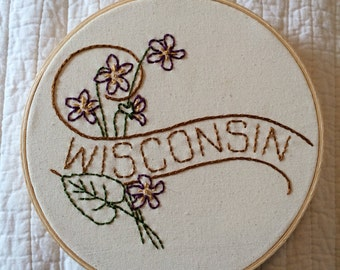 Wisconsin - Wood Violet 8'' Hoop