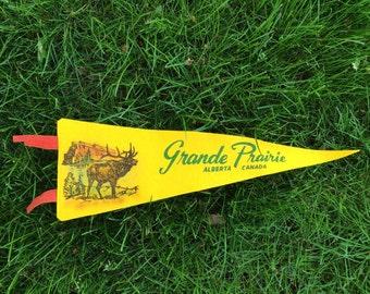 Vintage Grand Prairie Alberta Canada Pennant