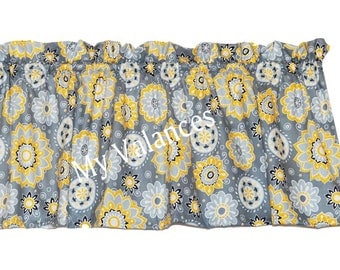 Suzani window curtain valance Gorgeous charcoal gray, light gray, mustard yellow and black floral-style fabric kitchen bedroom living room