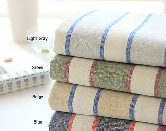 Fabric Linen 55inch vintage big stripe Fabric by the yard #80