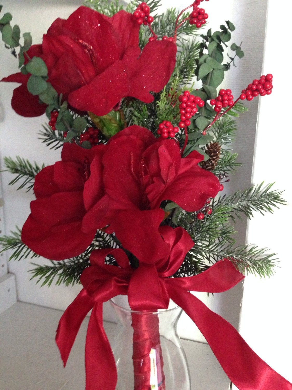 Christmas bouquet amaryllis bouquet christmas flowers for Amaryllis christmas decoration