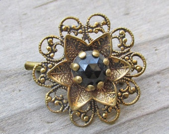 Vintage Brass Filigree Flower Brooch, Antique Black Rhinestone Flower Brooch