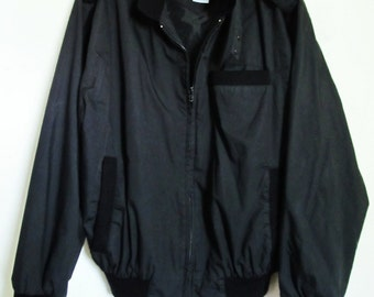 A Mens Vintage 80's,MOD Black MEMBER'S Style Cafe Racer Jacket By Norman Todd.XL