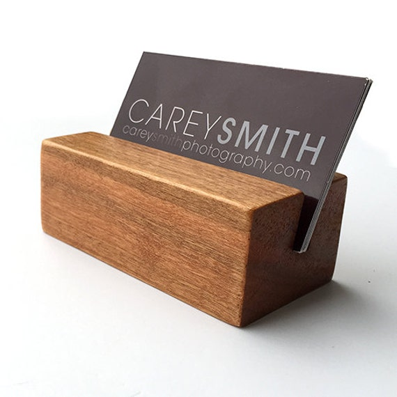 Desk business card holder wood business card by productsbyjc for Wood business card holder plans