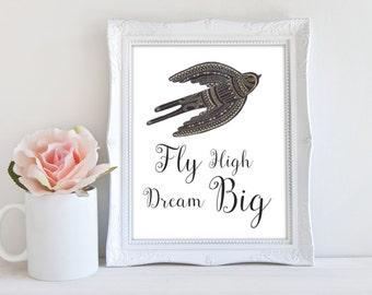 Dream Big Print, Printable Art, Inspirational Quote Art, Bird Art, Instant Download, BOHO Art