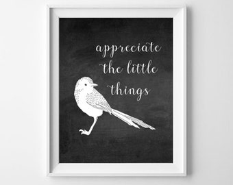 Chalkboard Art Print, Typography Print, Instant Download Art, Cute Bird Art, Inspirational Quote
