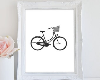 Bicycle Art Print, Printable Art, Bike Print, Bike Lovers Gift, Black and White Art