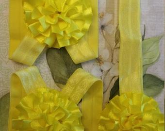 Yellow Barefoot Sandals with Matching Flower Headband