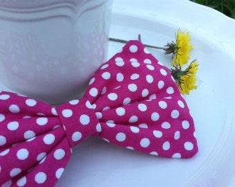 Hot Pink & white Polka Dot Bow