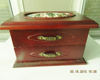 Jewelry Box with Tapestry Style Lid, Shabby Chic Wood Jewelry Box, Vintage Mirrored Jewelry Box, Heirloom Jewelry Box