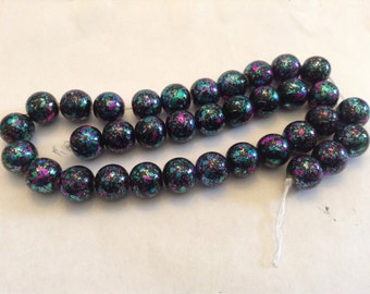 12mm glass color dripped beads