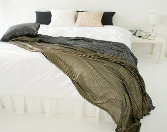 Decorative Black Sheer with Gold Glitter Bed Runner Accent Bed Scarf  Perfect for Housewarming Gift