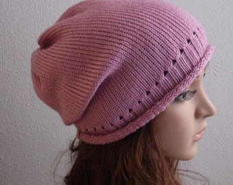 Knit Hat , Slouchy Beanie, Knitted Womens Hats, Slouch Hat, Pink Slouch Beanie Hat, CHOOSE COLOUR