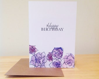 Happy Birthday Card/Floral/hand made/purple/pink/flowers