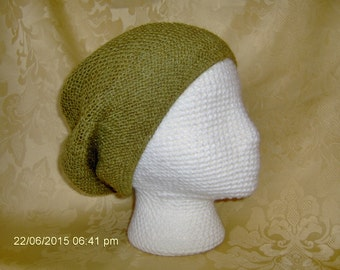 soft, kiwi colored slouch hat