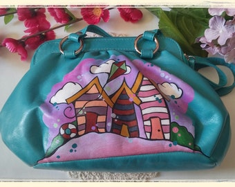 Small handbag-Teal-Hand painted-beach huts-upcycled-preloved bag.