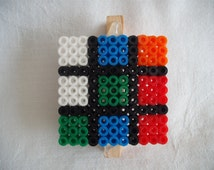 Rubiks Cube Memo Holder and Fridge Magnet. Hama Perler Bead Design.Handy, Cute and Unique.Kitchen,Office. Neat Tidy Desk