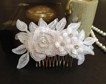 Bridal Hair Accessories, Wedding Head Piece, White Lace, Rhinestone, Silver, Comb