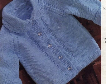 Emu 8244 Easy to knit vintage baby jacket perfect for baby boy instant download knitting pattern