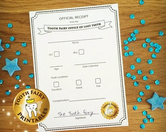 Tooth fairy receipt for lost tooth - Instant download Printable file