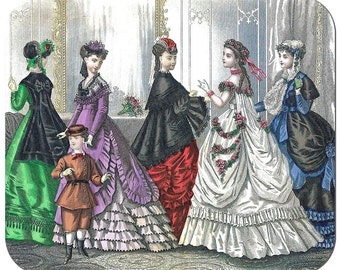 mp0048 - GODEY'S FASHION PLATE March 1869 Mousepad Mouse pad perfect for any computer using nerd
