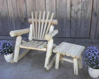 Cedar Log Lawn Rocking Chair Amish Made