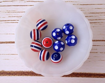 20mm Royal Blue Polka Dot Beads and Red, White, and Blue Striped Beads