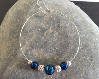 Large Hoop Earrings Electric Blue and Silver Filagree Hoop Earrings