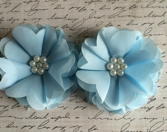 "Set of two 2.5"" Light blue Chiffon Pearl Flower, Wholesale Flowers, Boutique Supplies, DIY headband, Fabric Flowers, Headband Flowers"