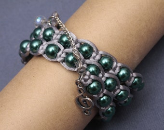 Gray and Green Pearl Wrap Bracelet with Charms