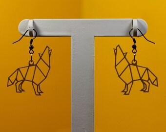 Origami Wolf Earrings