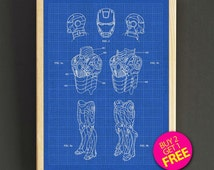Avenger Iron Man Patent Poster Iron Man Blueprint Art Print House Wear Wall Art Decor Gift Linen Print - Buy 2 Get FREE -323s2g