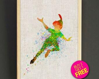 Peter Pan Print, Peter Pan Poster, Disney Print, Disney Watercolor, Neverland Print, Wall Decor, Home Decor, Gift- FREE SHIPPING - 98s2g