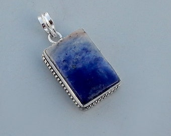 Natural Blue Sodalite Gemstone 925 Sterling Silver Pendant Handmade Artisan Jewelry