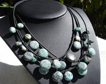 African Turquoise and Leather Necklace