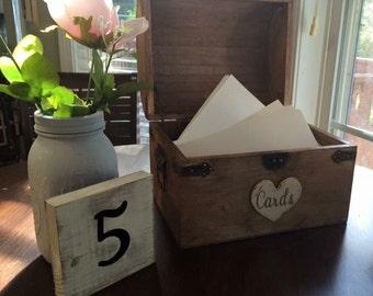 Rustic, wedding chest, chestnut, vintage, country, note box, money holder