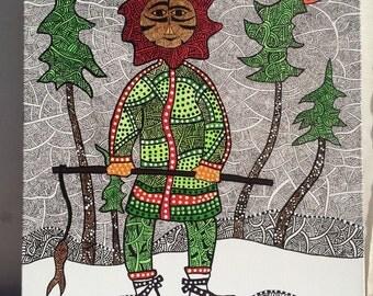ESKIMO FISHING- aboriginal inspired zentangle-