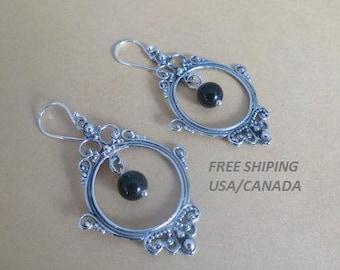 Silver black onyx earrings, 92.5 sterling silver;  mirror, boho, gypsy