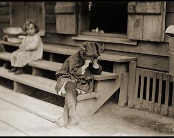 "Lewis Hine Photo ""Big Sister Crying on Steps"" 1910"
