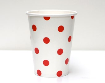 Red Polka Dot Cups Pack of 12