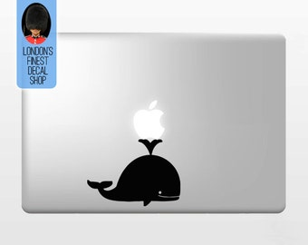 Cute Whale Holding Apple - Macbook Vinyl Decal Sticker / Laptop Decal / iPad Sticker