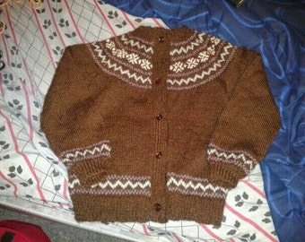 fine Brown jacquard Cardigan Norwegian for 8-year-old girl