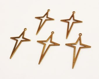 Raw Brass Cross Pendants,Star Pendant, Copper Jewelry Findings, Brass Components (FDS-69)