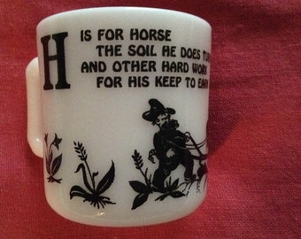 Child's Alphabet Cup H is for Horse