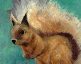 "Red Squirrel Original Oil Animal Painting on Board 6"" x 6"" Signed"
