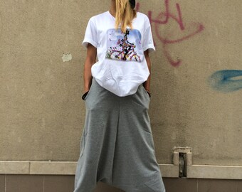 Loose Gray Pants, Extravagant Woman Oversize Trousers, Casual Pants,Drop Crotch Harem Pants, Sports Pants by SSDfashion