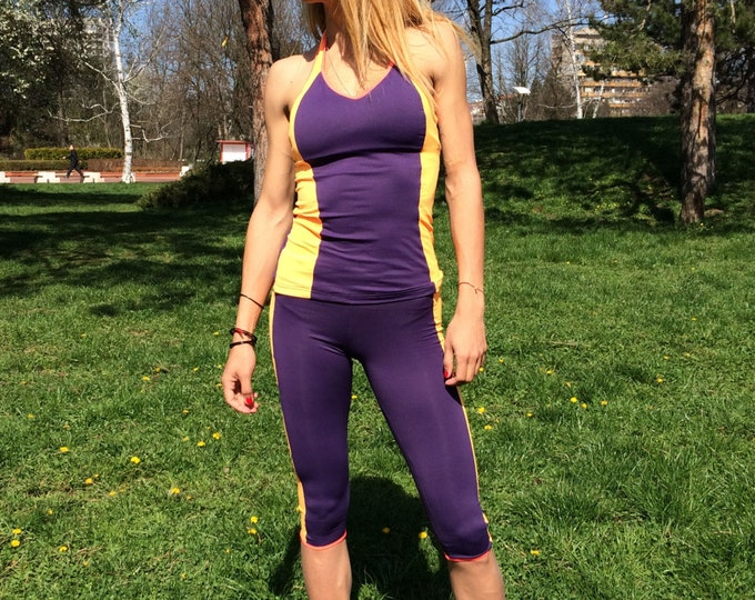 New Performance Women's Gym Set, Stretch Leggings With Top, Workout Combo Set, Yoga Capris With Bra by SSDfashion