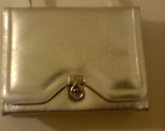 Classy Evening Bag In Silver Leather By Reich Bags